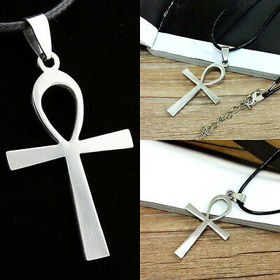 Large ANKH Cross Pendant  Leather 50cm+ Necklace Egyptian Symbol of Life Accesso