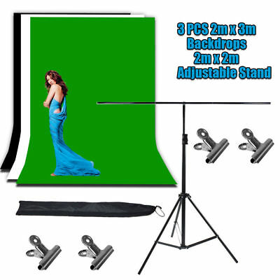 Chroma Key Green Screen with Black and White Backdrop stand Photography PRO Kit