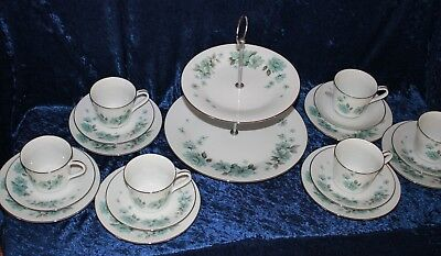 retro NORITAKE RC ALOUETTE 768 high tea coffee set tiered cake plate 6 trios
