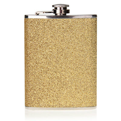 8oz Alcohol Wine Pot Drink Liquor Whisky Hip Flask Flagon Steel Stainless Gold
