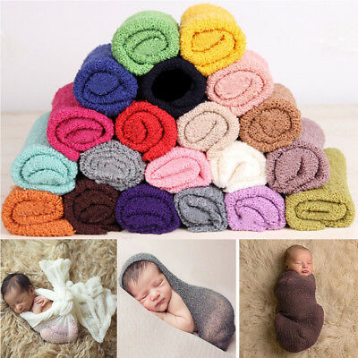 UK# Newborn Baby Stretch Textured Knit Rayon Wrap Cocoon Photo Photography Prop
