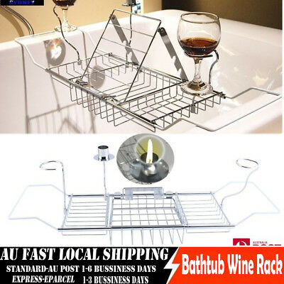 CHIC Relaxing Bath Caddy Bathtub Wine Book Holder Tray Rack Extension - Bathroom