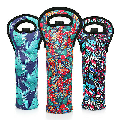 3 Lagute Reusable Wine Bottle Carriers Tote Neoprene Carrier Cooler Bag *Flower*