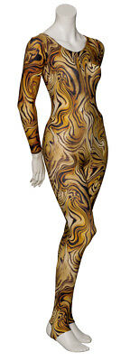 KDC012 Tiger Animal Print Long Sleeve Stirrup Dance Catsuit By Katz Dancewear