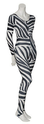 KDC012 Zebra Animal Print Long Sleeve Stirrup Dance Catsuit By Katz Dancewear