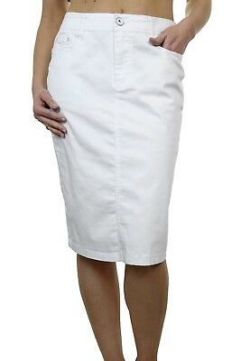 a08e00ad68d WOMENS PLUS SIZE Stretch Chino Sheen Jeans Style Skirt White NEW 12 ...