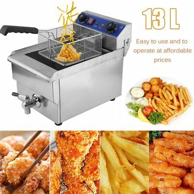 Commercial Restaurant Electric 13L Deep Fryer Stainless Steel w/ Timer Drain OY