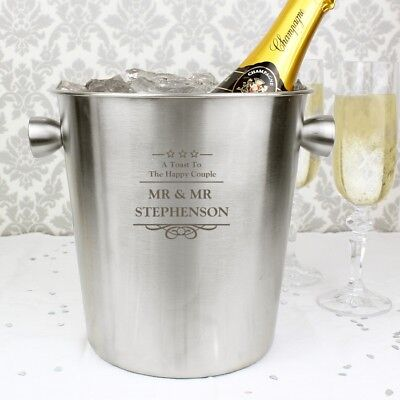 Personalised Stainless Steel Ice Bucket Champagne Prosecco Wine Cooler Bar Gift