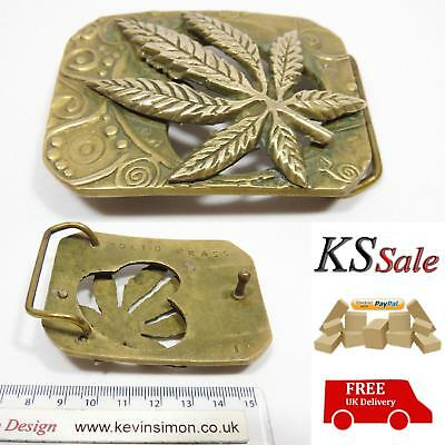 Cannabis Leaf Vintage Solid Brass Belt Buckle (Weed, Marijuana, Ganja) 451