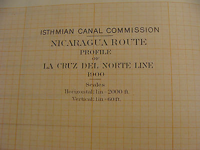 Early 1900's Original chart ISTHMIAN CANAL: Nicaragua Route, plate 62 profile