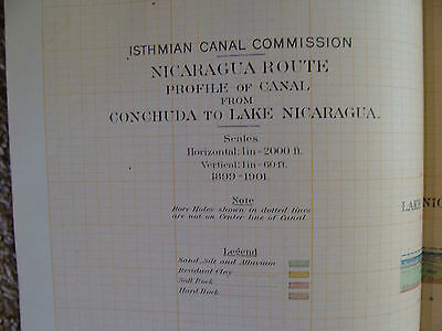 Early 1900's Orig chart ISTHMIAN CANAL: NICARAGUA ROUTE plate 49 PROFILE 2