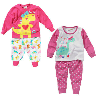Lullaby Toddler Girls Smile! Cute Dinosaur Heart Long Sleeve Pyjamas Pink 6-23m