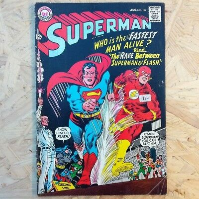 Superman #199 (Vol 1, 1967) - Superman and The Flash Race! - Condition VF (7.5)