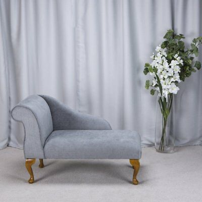 "41"" Small Chaise Longue Lounge Sofa Bench Seat Chair Topaz Fabric Queen Anne UK"