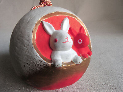 3.5 inch Japanese Clay Bell Dorei : White rabbit and red rabbit design