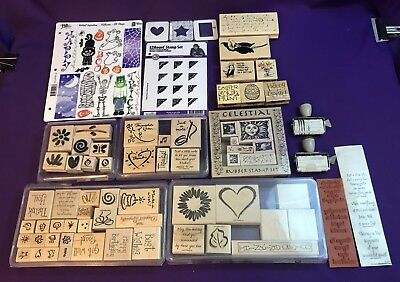 Stampin' Up Large Lot of RARE Rubber Stamps Most 2001 Retired In Plastic Cases