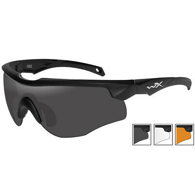 Wiley X WX Rogue Glasses Smoke Grey Clear Light Rust Lenses Matte Black Frame