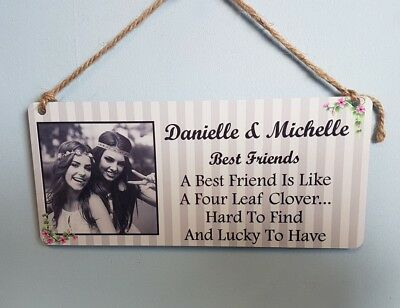 8x4/'/'Personalised Photo /& Text Plaque Birthday Christmas Best Friend Gift