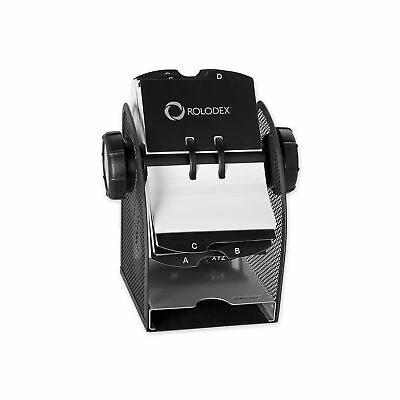 Rolodex Two-Tone Mesh Rotary Business Card File, 200-Card, Black and Silver (...