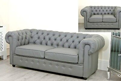 Grey Chesterfield sofa Bed Chaise Faux Leather Right Left Hand Living Room