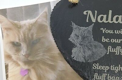 Slate Memorial Hearts Personalised With Photo, Memory,  Pet, Dog, Cat