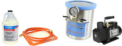 Glass Vac 1.5 Gallon Tall SS Chamber, Resin, and VE225 4CFM 2 Stage Pump Kit
