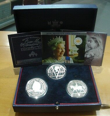 Great Britain - Set 3 Coins Silver Proof  - 5 Pounds 2000/01/02 (0139)
