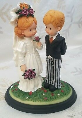 Numbered Anri Sarah Kay Bride and Groom  With This Ring and To Love resin 1990's