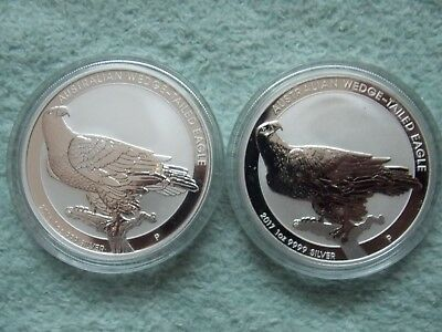 2016 & 2017  AUSTRALIAN SILVER Wedge Tailed Eagle BU 1 oz (Set of two coins)