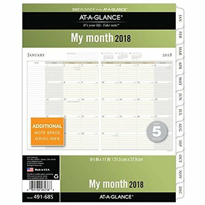 AT-A-GLANCE Day Runner Monthly Planner Refill, January 2018 December 2018, X 5
