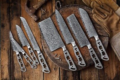 KATSURA Japanese AUS 10 Damascus Steel 67 Layer Chef's Knife set, 8pcs-no logo