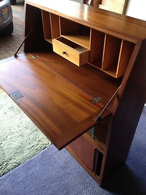Bureau Writing Desk in Mahogany with Drop Flap & Sliding Door Cabinets Below