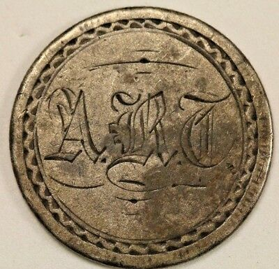 1854 Seated Liberty Quarter Love Token with Remnants of Pin Mechanism