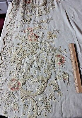 Shabby Antique French c1890 Multicolored Hand Embroidered Tambour Curtain Panel