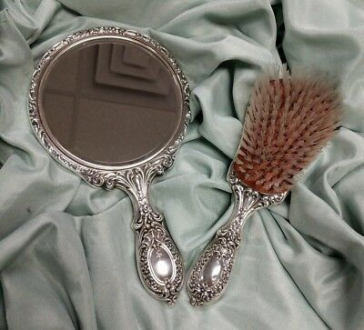 Gorham Sterling Silver 23 Buttercup Brush & Mirror Vanity Grooming Set