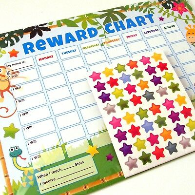 Pack Of 6 Jungle Children Kids Reward Behaviour Charts With Star Stickers & Pen