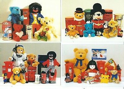4 Postcard Teddy Bears And Money Boxes  Published In The Uk