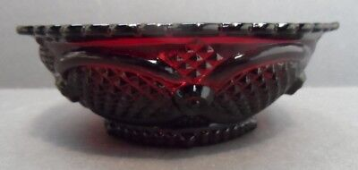 """4 Avon 1876 CAPE COD Collection Ruby Red  Glass 5 1/4"""" Dessert Bowls"""