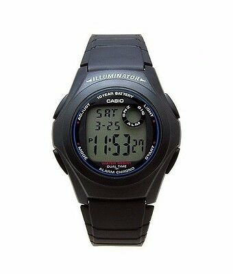 Casio F200W-1A Mens Black Resin Digital LCD Sports Watch w/ Illuminator NEW