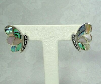 925 Sterling Silver Butterfly Abalone Mother Of Pearl Earrings