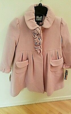 NEW Rothschild Winter Special Occasion Pink Wool Coat Jacket Hat Girls Sz 6X / 6