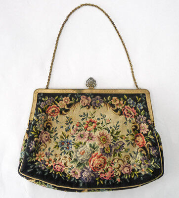 Vintage Petit Point Small Purse Embroidered Needlepoint Roses Floral Tapestry