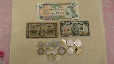 7 Pounds Uk,5 Euro's,$25.00 Canadian Dollars 2- 25 Cent Notes !!!!