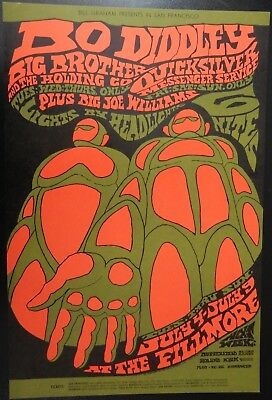 Bo Diddley Big Brother Fillmore Concert Poster BG-71 Bonnie MacLean Art Mint