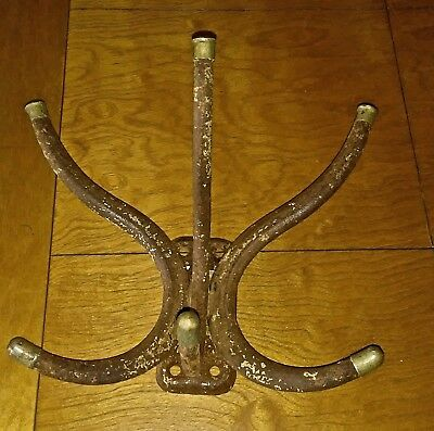 Vintage Antique Iron Metal Barber Shop Hat Coat Rack Fixture Hardware