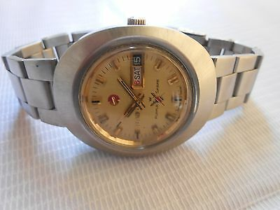 Used Swiss Made Vintage Ss Rado Purple Sabre Day Date Gents Automatic Wristwatch
