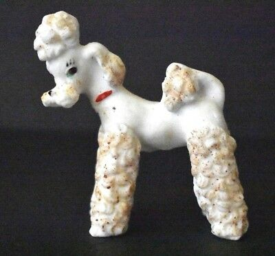 "Vintage Small White Porcelain Standard Poodle Dog Figurine 3 1/4"" Tall x 3"" Long"