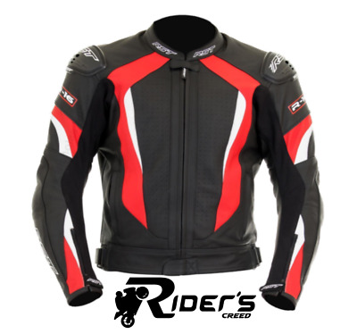 RST R-16 Leather Sports Motorcycle Motorbike Track Race Jacket Black/Red/White