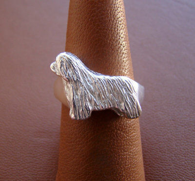 Sterling Silver Bearded Collie Standing Study Ring