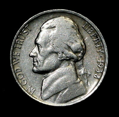 1938-S Jefferson Nickel (Circulated)  Free Shipping!